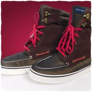 Sperry Top-Sider Lace Up Boots Corduroy/Plaid 9M